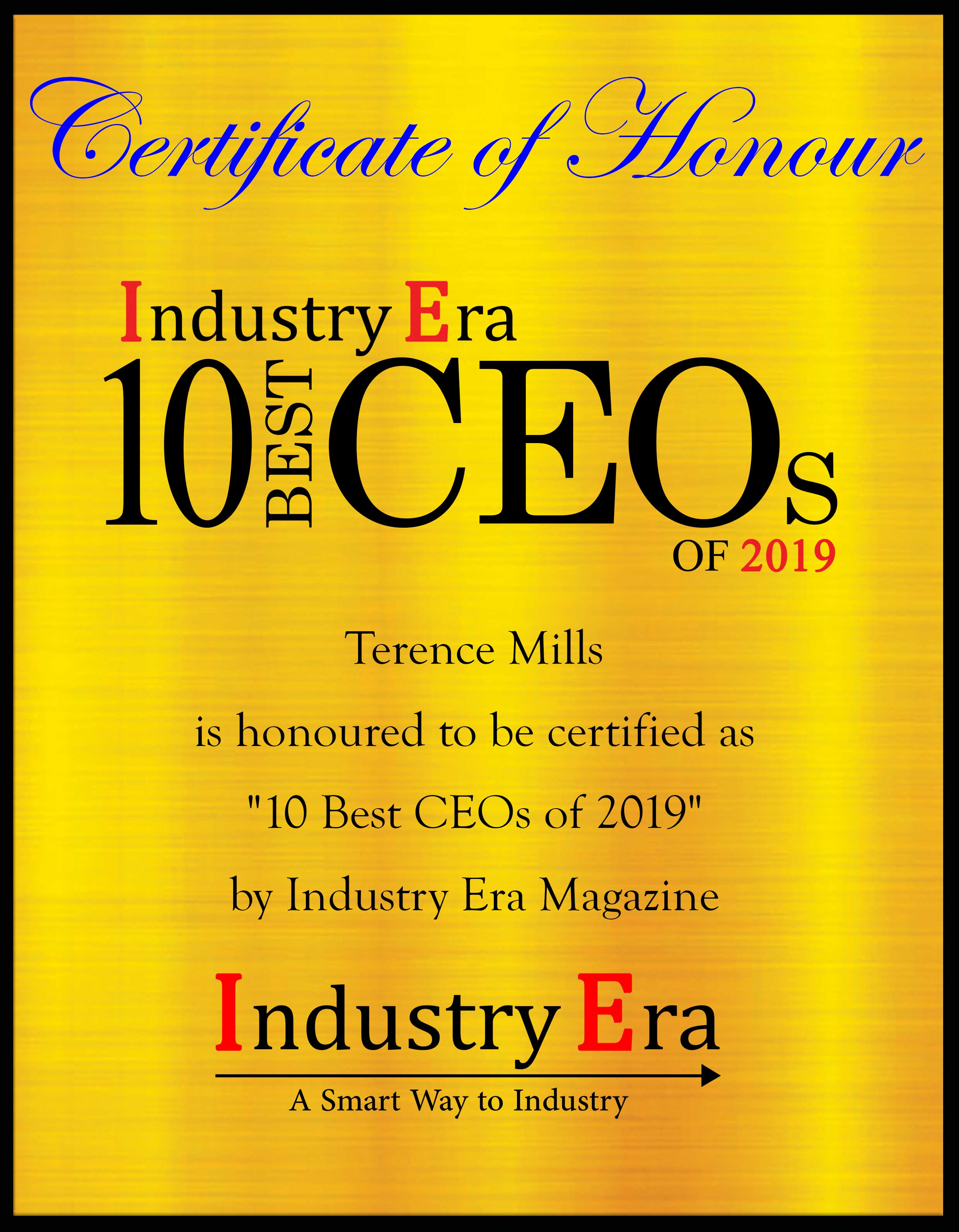 Terence Mills CEO & Chairman AI.io, Best CEOs of 2019 Certificate