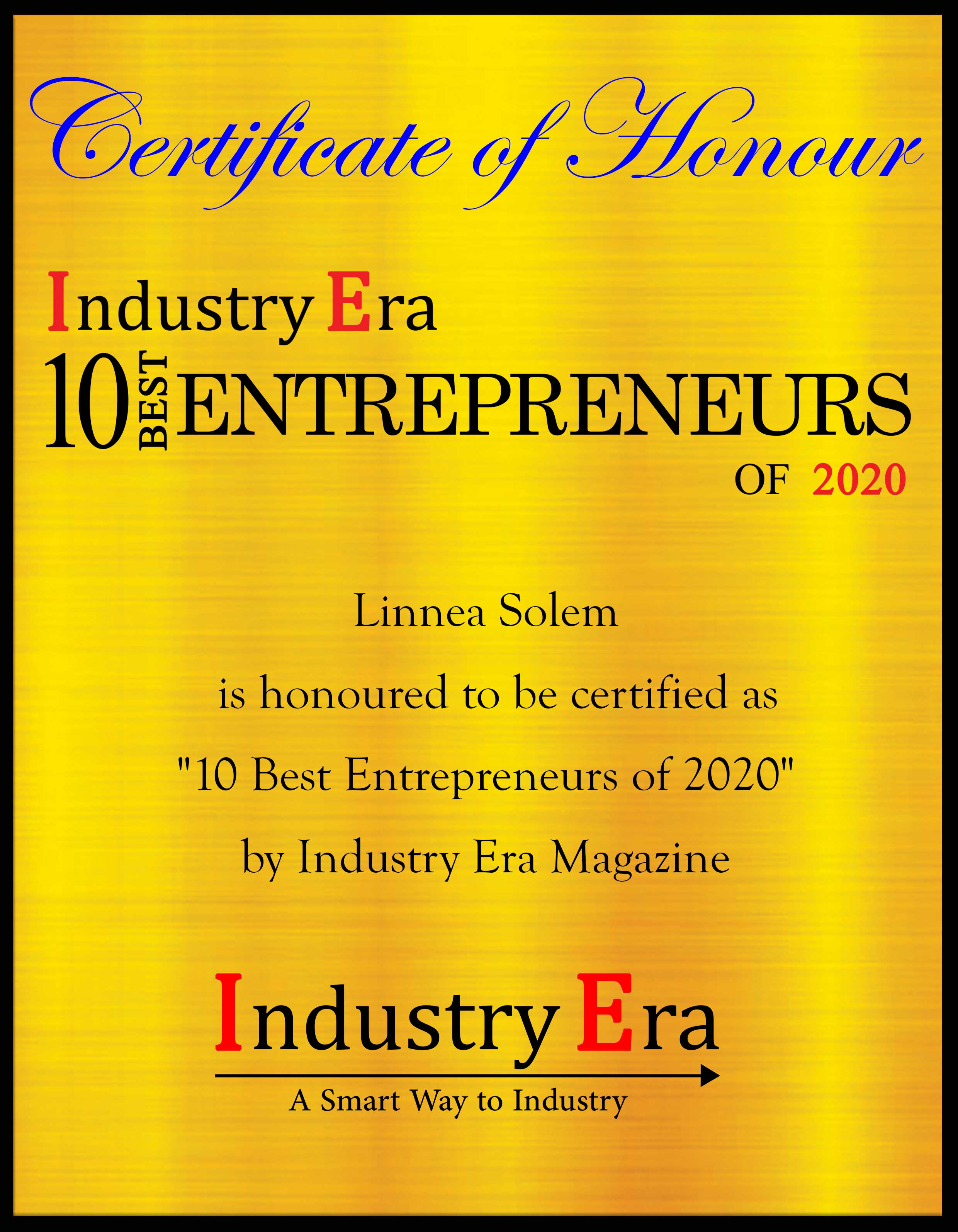 Linnea Solem, CEO and Founder of Solem Risk Partners LLC, 10 Best Entrepreneurs of Year 2020