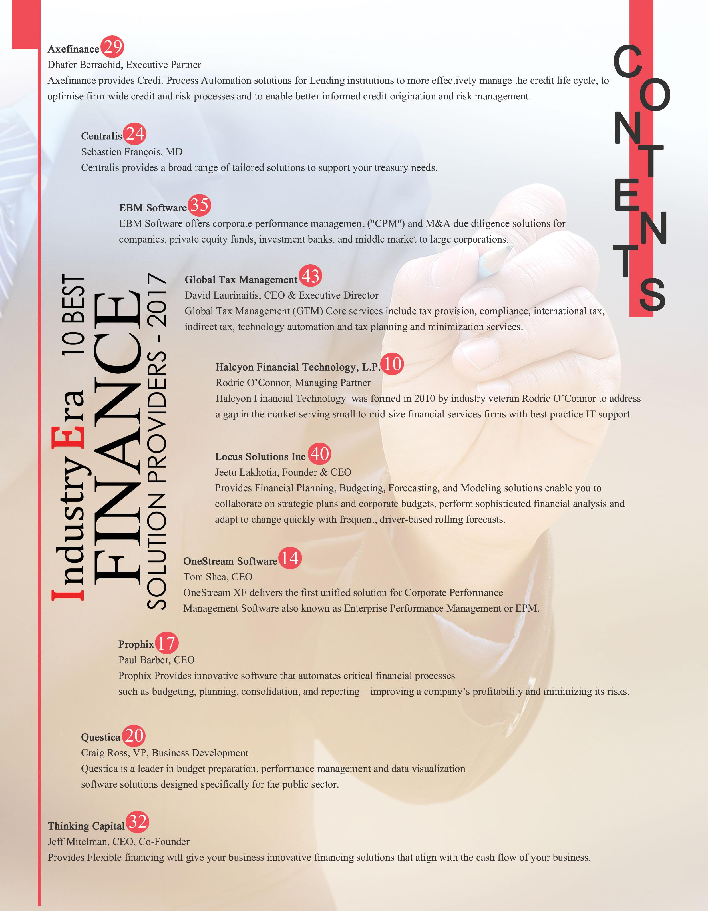 10 Best Finance Solution Providers of 2017 | Industry Era